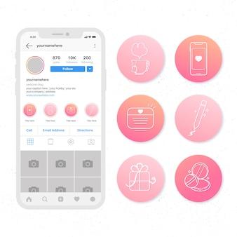 Zestaw wyróżnień gradient instagram
