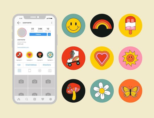 Zestaw wyróżnień ręcznie rysowane instagram