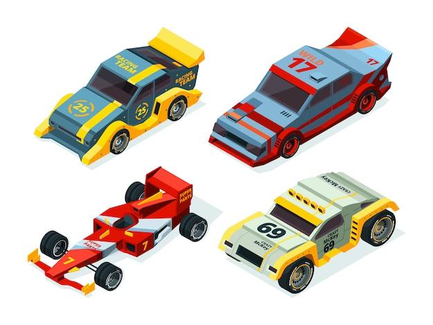 Zestaw wyścigowy. izometryczne samochody wyścigowe. izometryczne zdjęcia sportowe