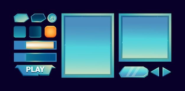 Zestaw wyskakującego szablonu interfejsu szablonu gry fantasy błyszczącej gry, odpowiedniego dla elementów aktywów space gui