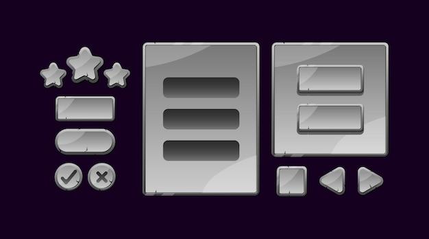 Zestaw wyskakujących okienek interfejsu gry z kamiennymi kamieniami i przycisku do elementów zasobów gui