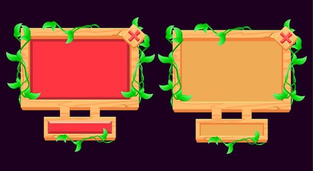 Zestaw wyskakujących okienek z drewnianymi liśćmi dla elementów interfejsu gry