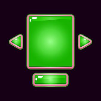 Zestaw wyskakujących szablonów interfejsu użytkownika gry z różową galaretką dla elementów zasobu gui