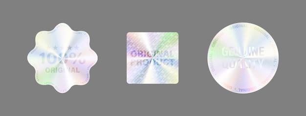 Zestaw wysokiej jakości naklejek holograficznych. etykieta z hologramem.