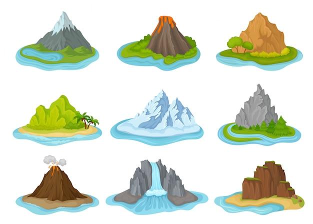Zestaw wysp z górami otoczonymi wodą. naturalny krajobraz. elementy plakatu podróżnego lub gry mobilnej