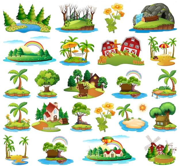 Zestaw wyspy przyrody