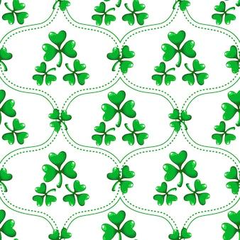 Zestaw wzór dzień świętego patryka - adamaszku ornament z liści koniczyny lub koniczyny