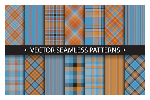 Zestaw wzór kratki. tartan wzory tekstury tkaniny.