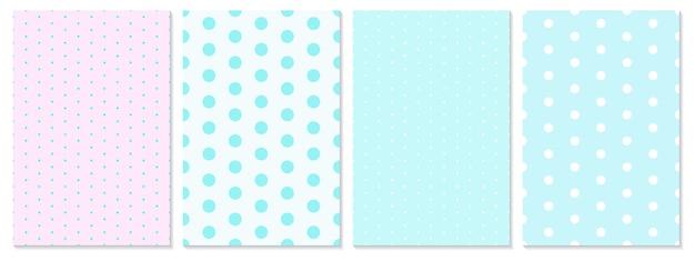 Zestaw wzór kropki. tło dla dzieci. kolory niebieski, różowy. wzór w kropki.