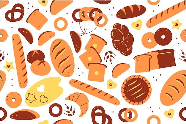 Zestaw wzór piekarnia. ręcznie rysowane doodle biały chleb bochenki ciasta ciasteczka tosty bułki rogaliki pączki posiłek niezdrowe odżywianie. produkty rolne z pszenicy pieczonej