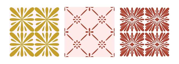Zestaw wzór płytek. geometryczne tło musztardowe, różowe i winne. tradycyjne powtarzać kwiatowy ornament. kolekcja pastelowych wektorów. streszczenie vintage nadruk na tkaninie, opakowania.