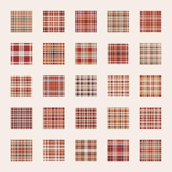 Zestaw wzór. sprawdź teksturę kratki. płaski kolor tła czerwony, niebieski, złoty. szablon do pakowania papieru
