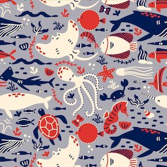 Zestaw wzór życia morskiego. ręcznie rysowane doodle różnych ryb morskich i oceanicznych rekiny żółwie ośmiornica ostryga płaszczka rozgwiazda. zwierzęta w przyrodzie środowiska dzikiej przyrody.