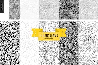 Zestaw wzorców czarno-białych handdrawn. Futro lub liście bezszwowe czarno-białe wzory