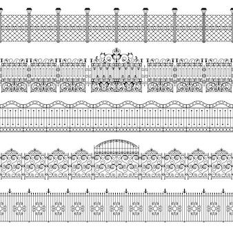 Zestaw wzorców granicy ogrodzenia