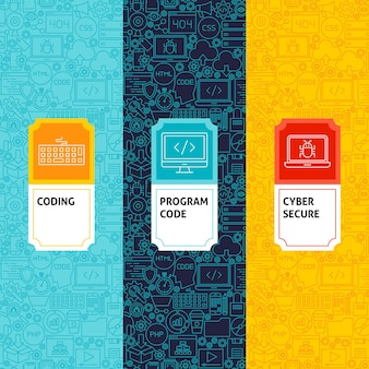 Zestaw wzorców kodowania linii. ilustracja wektorowa projektowania logo. szablon do pakowania z etykietami.