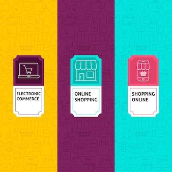 Zestaw wzorców linii zakupy. ilustracja wektorowa projektowania logo. szablon do pakowania z etykietami.