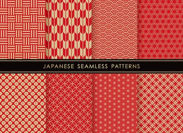 Zestaw wzorców vintage wektor bez szwu japoński
