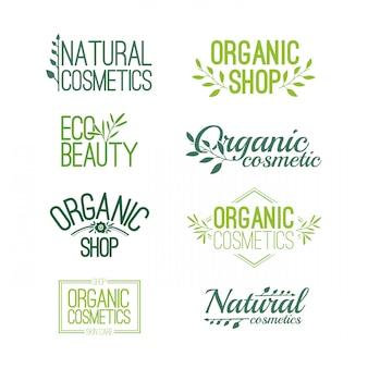 Zestaw wzorów do projektowania logo, znaczków, naklejek na kosmetyki organiczne i naturalne.