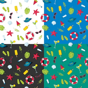 Zestaw wzorów elementów letnich na innym tle, wzór motywu lato, jasne tło jasnych kolorów wzór o lecie. letni element na jednolitym wzorze