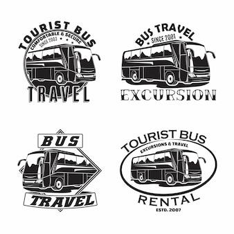 Zestaw wzorów emblematów firm turystycznych, emblematów organizacji wycieczek lub wypożyczalni autobusów turystycznych, znaczków biur podróży, emblematów typografii autobusów