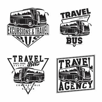 Zestaw wzorów emblematów firmy podróżującej autobusem z herbami autobusów turystycznych