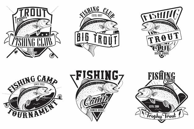 Zestaw wzorów emblematów klubu wędkarskiego, emblematów rybaków pstrągów, znaczków z nadrukiem folwarcznym, emblematów typografii rybaków