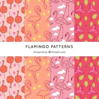 Zestaw wzorów flamingi w stylu wyciągnąć rękę