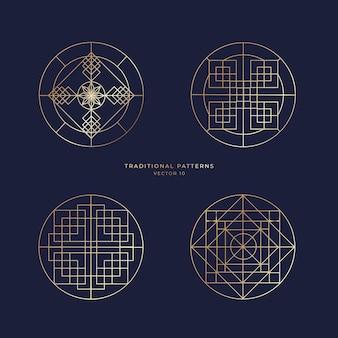 Zestaw wzorów geometrycznych w zaokrąglonym kształcie