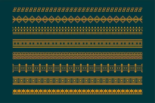 Zestaw wzorów granic w stylu etnicznym boho