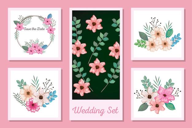 Zestaw wzorów karty zaproszenia ślubne i kwiaty