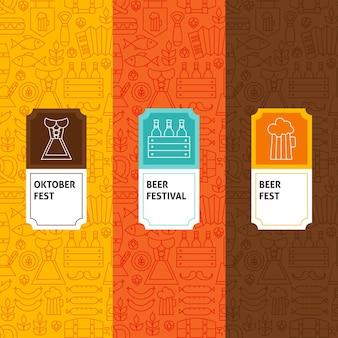 Zestaw wzorów linii oktoberfest. ilustracja wektorowa projektowania logo. szablon do pakowania z etykietami.