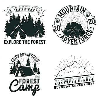 Zestaw wzorów logo kempingu lub turystyki w stylu vintage, znaczków z nadrukiem folwarcznym, kreatywnych emblematów typografii,