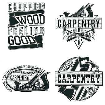 Zestaw wzorów logo vintage do obróbki drewna, znaczków z nadrukiem folwarcznym, kreatywnych emblematów typografii stolarskiej,