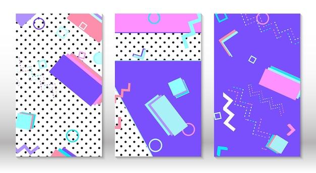 Zestaw wzorów memphis. streszczenie kolorowe tło zabawy. hipsterski styl lat 80.-90. elementy memphis.
