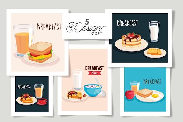Zestaw wzorów menu śniadaniowego