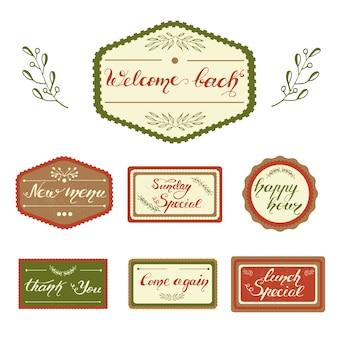 Zestaw wzorów odznaki z napisem do menu kawiarni. ilustracji wektorowych.