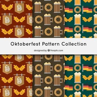 Zestaw wzorów oktoberfest w płaskim stylu
