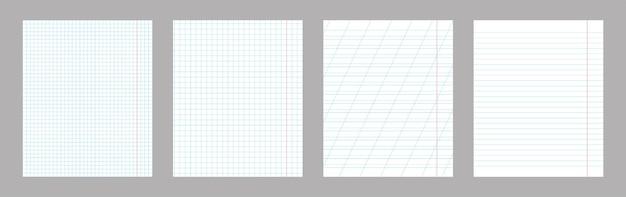 Zestaw wzorów pionowych arkuszy papieru szkolnego