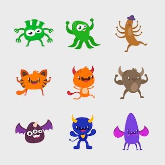 Zestaw wzorów postaci monster. urocza kolekcja potworów
