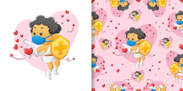 Zestaw wzorów przedstawiający chłopca kupidyna trzymającego tarczę i szerzącego miłość do ludzi ilustracji