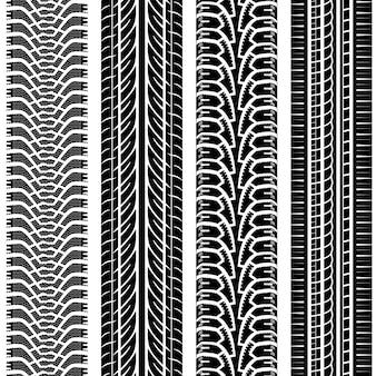 Zestaw wzorów śladów opon