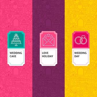 Zestaw wzorów ślubnych linii. ilustracja wektorowa projektowania logo. szablon do pakowania z etykietami.
