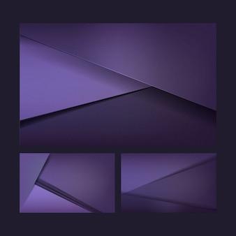 Zestaw wzorów tła w głębokim kolorze fioletowym