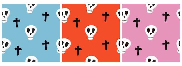 Zestaw wzorów wektorowych z czaszkami i krzyżami na kolorowym tle
