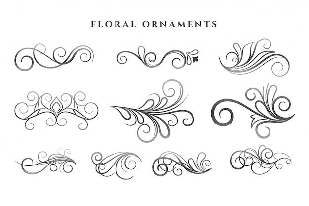 Zestaw wzorów wirowych dekoracji ozdoby kwiatowe