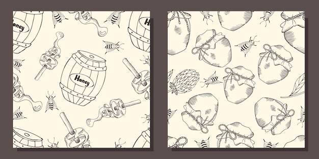 Zestaw wzorów z beczkami miodu i słoikami miodu.