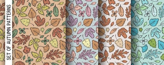 Zestaw wzorów z jesiennymi liśćmi.