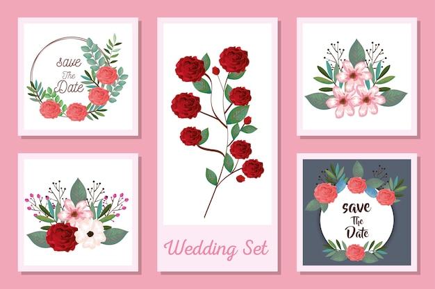 Zestaw wzorów zaproszeń ślubnych i kwiatów
