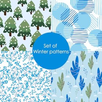 Zestaw wzorów zimowych.
